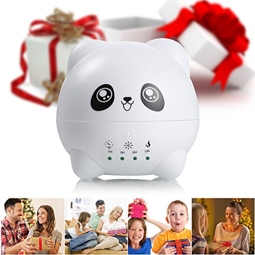 Easehold Lovely Panda Aroma Diffuser,300ml Ultrasonic Humidifier with 7 Colors Light and Four Timer Options, Waterless Auto Shut-off, Best Gift
