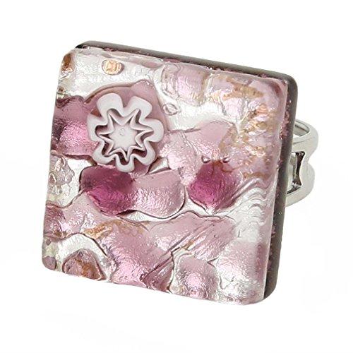 - GlassOfVenice Murano Glass Venetian Reflections Square Adjustable Ring - Purple Silv