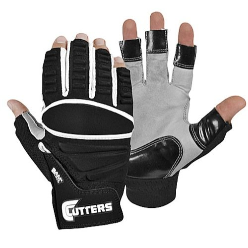 Cutters Half-Finger Lineman (Black, X-Large)