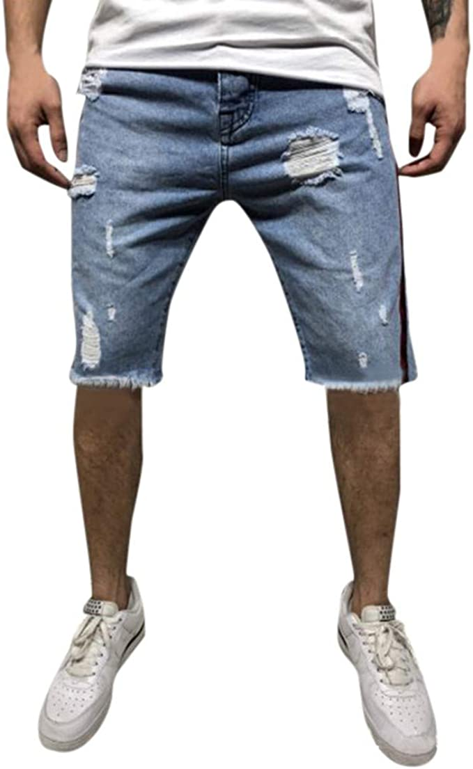 Pantalones Vaqueros Cortos de Hombres Slim Fit Shredded