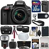 Nikon D3400 Digital SLR Camera & 18-55mm VR DX AF-P Zoom Lens (Black) 32GB Card + Case + Flash + Battery & Charger + Tripod + Tele/Wide Lens Kit