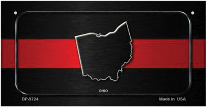 Ohio Thin Red Line Novelty Metal License Plate