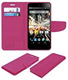 Acm Mobile Leather Flip Flap Wallet Case for Micromax Canvas Amaze 2 E457 Mobile Cover Pink