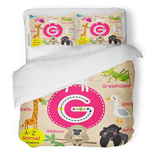 Semtomn Decor Duvet Cover Set King Size Cute Children Zoo Alphabet G Letter Tracing of Funny 3 Piece Brushed Microfiber Fabric Print Bedding Set Cover
