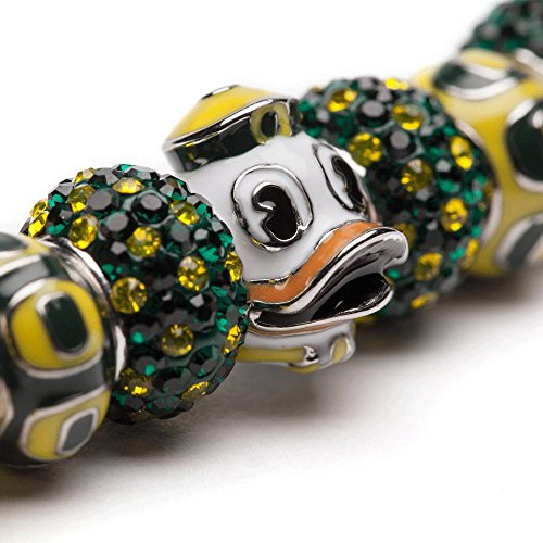 University of Oregon Bracelet   UO Ducks - Bracelet with 3 UO Beads and 4 Crystal Charms   Officially Licensed University of Oregon Jewelry   UO Logo   University of Oregon Gifts   Stainless Steel by Stone Armory (Image #1)