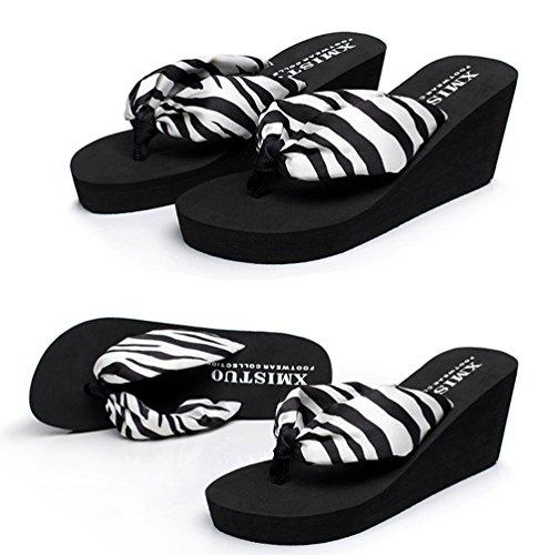 YOUJIA Mujeres Chanclas Verano Cuñas Zapatos de playa Satín Boho Plataforma Zapatillas Estampado Cebra