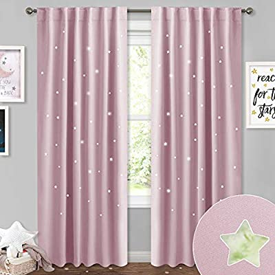 NICETOWN Kids Curtains with Hollow Stars - Room Darkening Romantic Starry Sky Star Cut Out Curtains Panels Window Treatment Draperies for Bedroom/Living Room, 52W x 84L inches, Lavender Pink, 2 PCs: Home & Kitchen