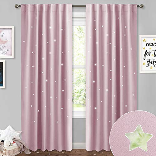 (NICETOWN Hollow Stars Inspiration Curtains Panels - Romantic Sky Wonder Star Cut Out Room Darkening Draperies with Rod Pocket & Back Tab for Bedroom/Living Room (52
