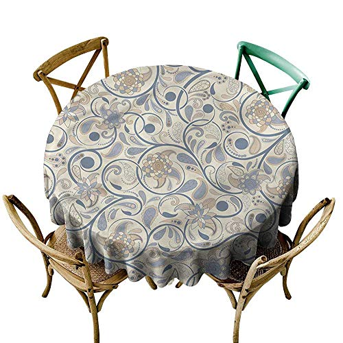 Luunins Round Tablecloth Wood Vintage,Eastern Oriental Scroll D70,for Baby ()