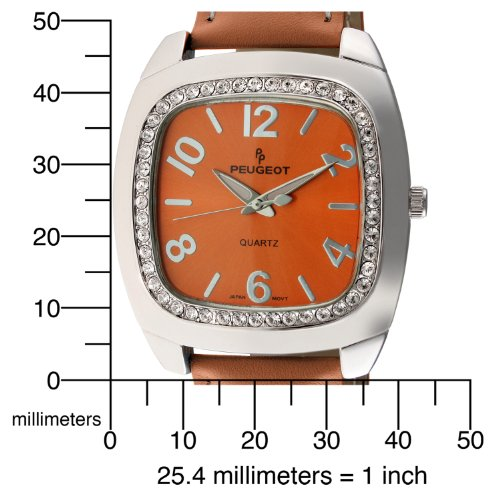Orange Leather Strap - Peugeot Women's 310OR Silver-Tone Swarovski Crystal Accented Orange Leather Strap Watch