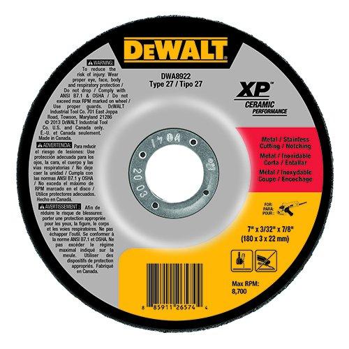 DEWALT DWA8922 Extended Performance 7-Inch x 3//32-Inch x 7//8-Inch Ceramic Abrasive