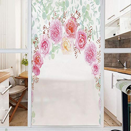 Decorative Window Film,No Glue Frosted Privacy Film,Stained Glass Door Film,Floral Wreath in Half Blossoming Romantic Bridal Roses Peonies Feminine Decorative,for Home & Office,23.6In. by 47.2In Multi