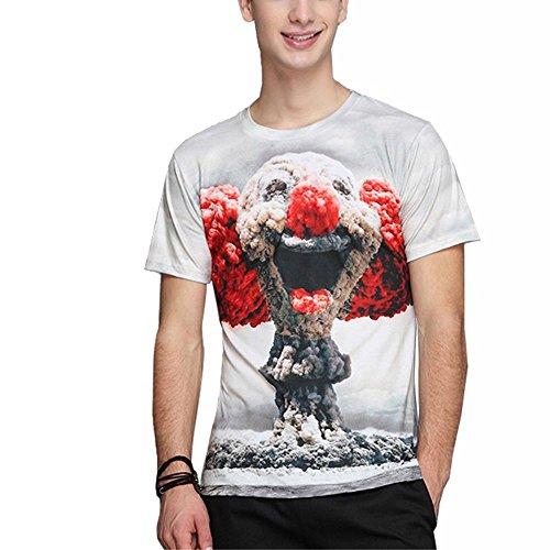 Katomi Herren-T-Shirt kurzärmliges Shirt, 3D-Druck Clown-Wolken-Explosion
