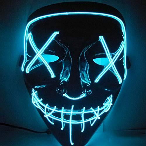 Halloween Mask LED Light up Mask Scary Frightening EL Wire Mask for Festival Parties Cosplay Costume for Man Women Kids Blue]()