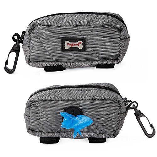 ag Dispenser, Dog Poop Bag Holder Leash Attachment Includes 1 Roll Free Poop Bags, Zippered Pouch & Plastic Hook Easy Carry ()