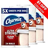 Charmin Ultra Strong Clean Touch Toilet Paper, Family Mega Roll 24 Count