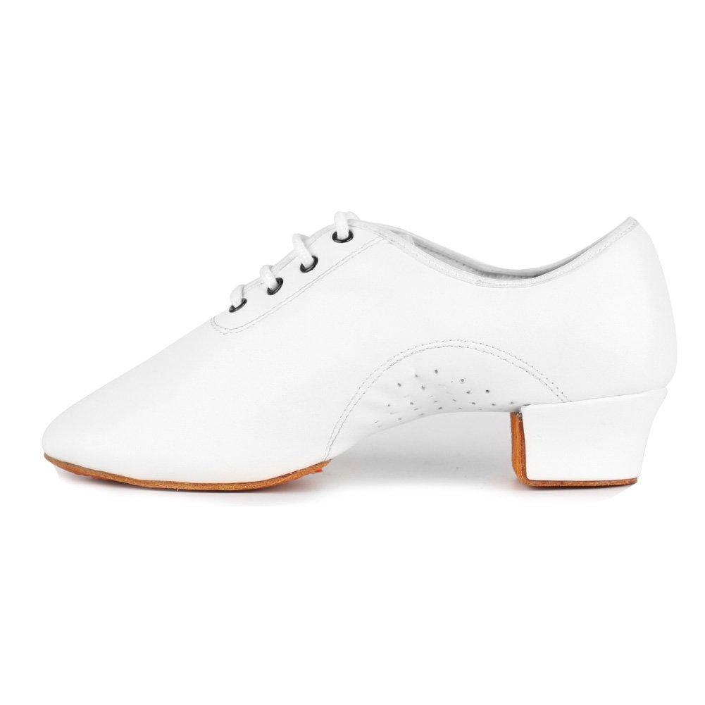 DKZSYIM Boy's&Kid's White Professional Latin Dance Shoes Ballroom Jazz Tango Waltz Performance Shoes,Model WX-LDD,4.5 B(M) US