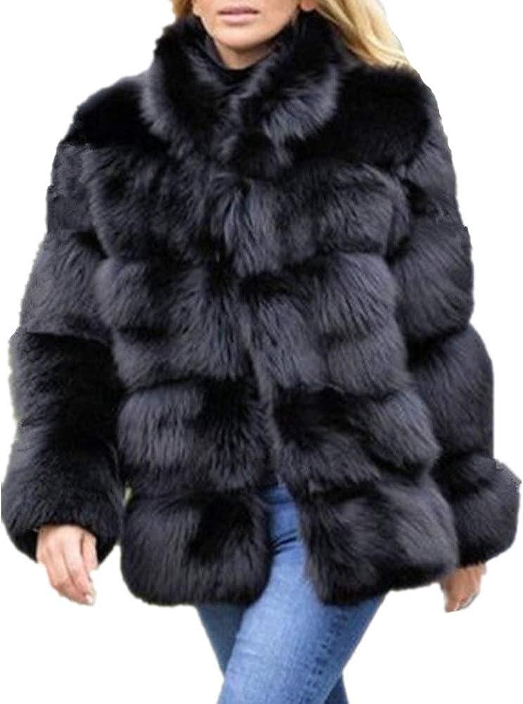 Lisa Colly Women Winter Furs Coat Jacket Luxury Faux Fox Fur Coat Slim Long Sleeve Collar Coat Faux Fur Coat Overcoat