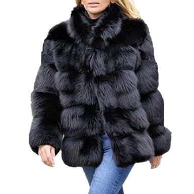 9f3b9bd06 Lisa Colly Women Winter Furs Coat Jacket Luxury Faux Fox Fur Coat Slim Long  Sleeve Collar
