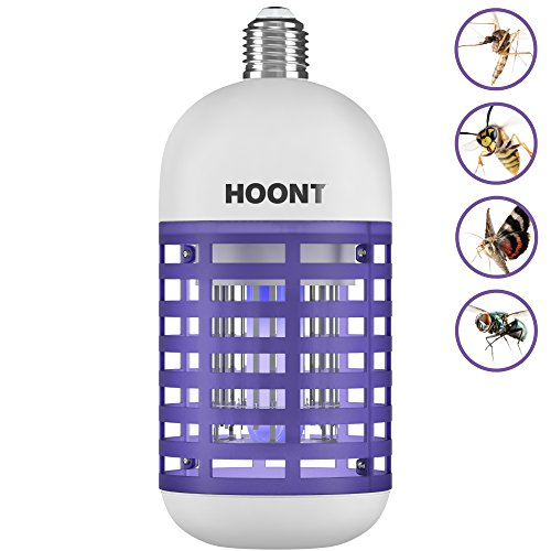 Hoont Powerful Electric Indoor Bug Zapper Bulb Trap Catcher Killer - Fits All Standard Bulb Sockets - Protects 500 Sq. Ft./Fly Killer, Mosquito Killer, Insect Killer [UPGRADED]