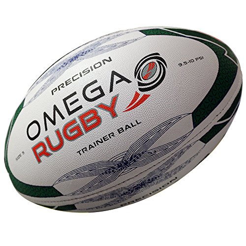 - Omega Rugby Precision Training Rugby Ball (Green / Blue, 5 ( Age 14+))