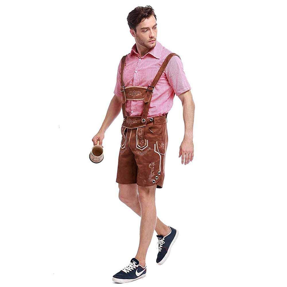 Neilyoshop Oktoberfest Lederhosen Outfit German Bavarian Beer Carnival Halloween Costumes for Men M