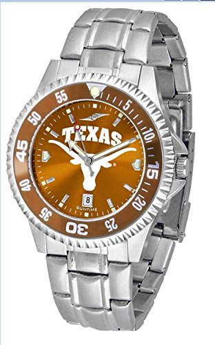 NCAA Collegiate Mens Watch Competitor Steel Anochrome with rotating color bezel (Texas)