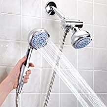 Dual Shower Head, 3 Way 2 In 1 Fixed Showerhead and Handhled Shower Head Combo with Hose Diverter by Xiaoxiao Store (Dual Shower Head)