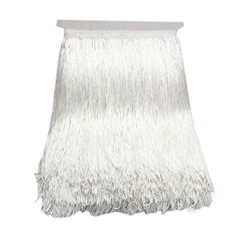 10Yard/Lot 30CM Polyester Tassel Fringe Lace Trimming for DIY Latin Dress Stage Clothes Fabric Accessories (White) ()