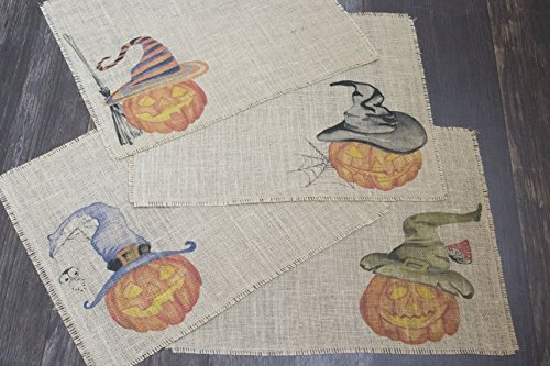 Halloween Jack O'Lantern burlap placemats with fun whimsical pumpkins in witch hats ()