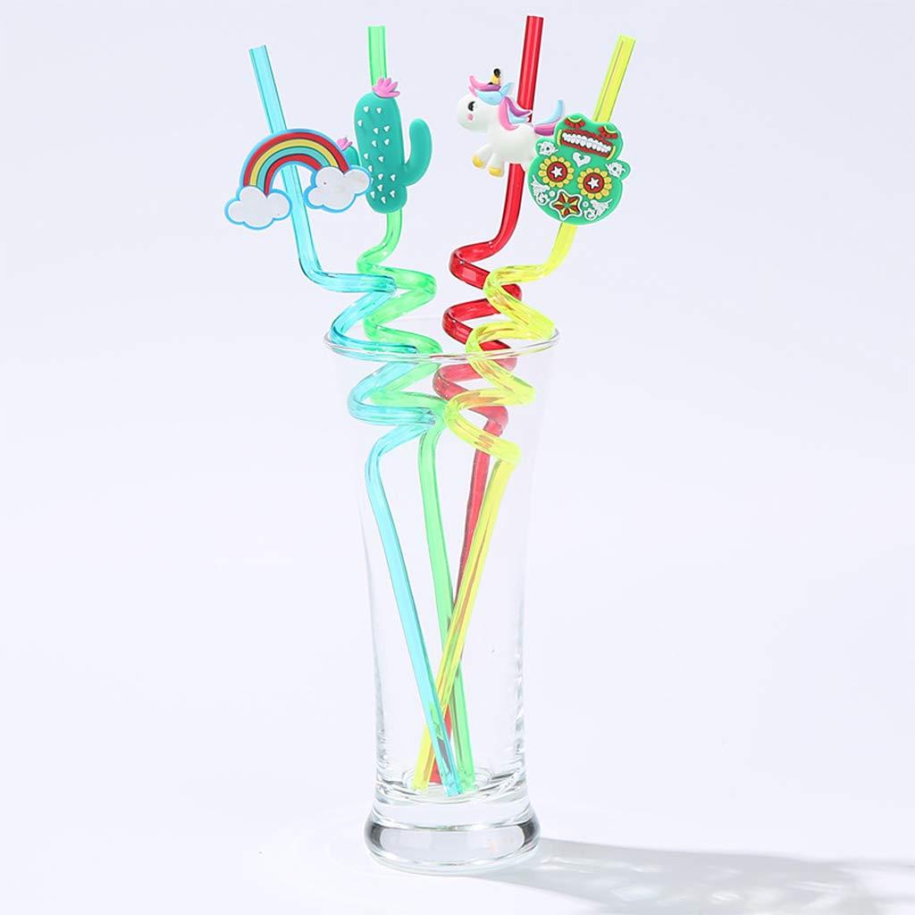 A0127 Paille en Plastique 4PCS Paille en Spirale Paille Enfant D/écoration de f/ête Biens dactivit/é