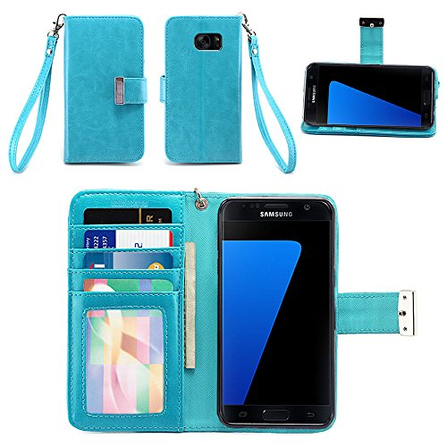 Samsung Galaxy S7 Case - IZENGATE [Classic Series] Wallet Cover PU Leather Flip Folio with Stand (Turquoise Blue)