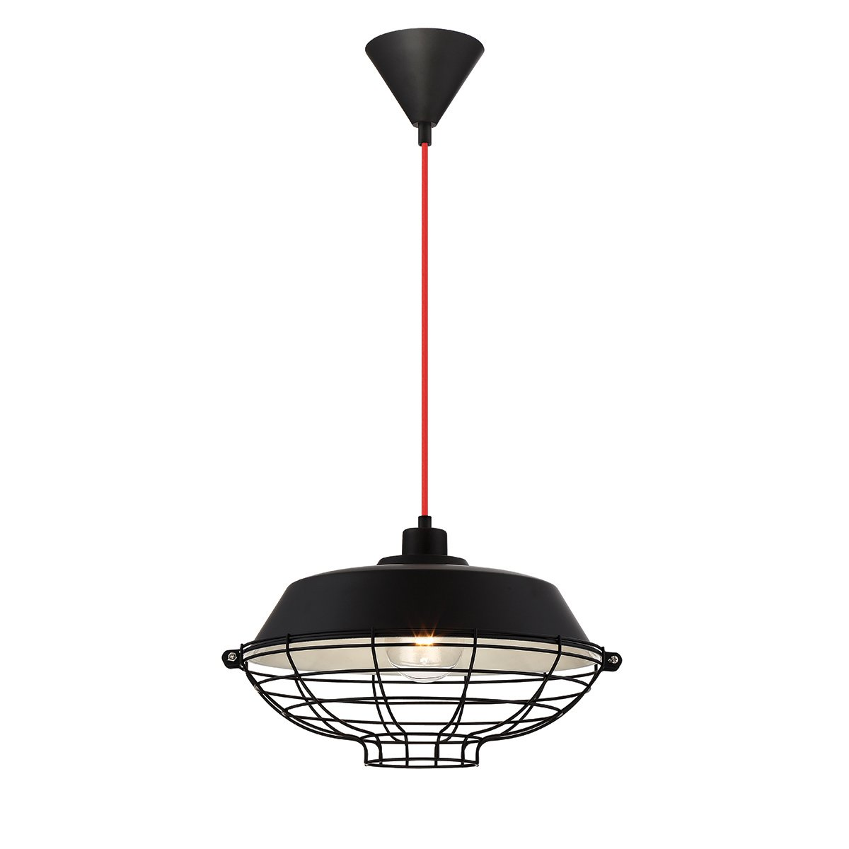 Eurofase London Metal Cage Diffuser Pendant Finish, Fabric Power Cord, 1 A19 Light Bulb, 14 Inches in Diameter-Model 30012-035, Black