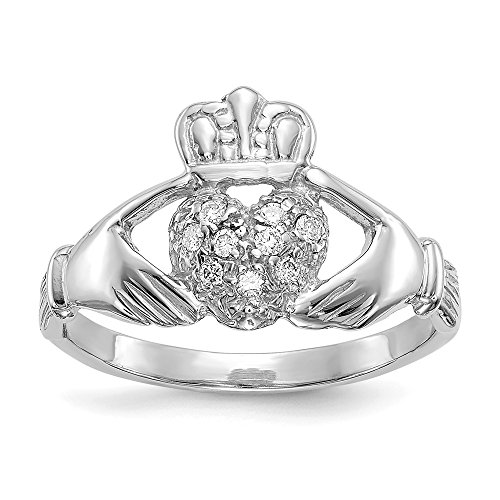 - 14k White Gold 1/10ct Diamond Irish Claddagh Celtic Knot Band Ring Size 6.00 Fine Jewelry Gifts For Women For Her