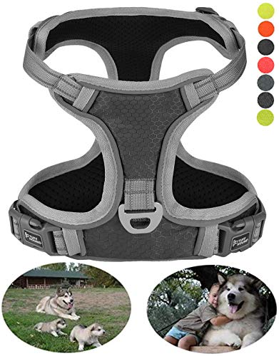 Pet Comfort Control Harness (GAUTERF Grey Dogs Harnesses Black Pet Vest No Pull Dog Harnesses Vest of Medium Large Dogs, The Comfort Control of Big Dog in Training is No Longer Pulling or Choking(Extra Large, Black/Grey))