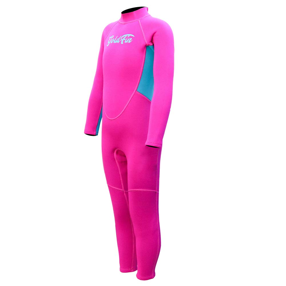 Kids Wetsuit Full Body Swimsuit, 2mm Neoprene One Piece Wetsuit Long Sleeve Back Zipper for Girls Boys Toddler Youth Swimming Snorkeling Diving Surfing, SW018 (Fuchsia, 8)