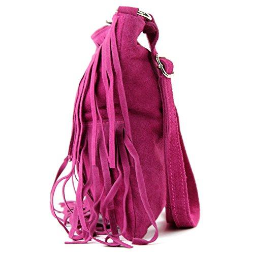 pelle a scamosciata Borsa in Frans borsa tracolla borsa pelle donna Pink T125 Ital in tracolla PR4q7fw