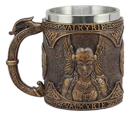 Ebros Gift Norse Mythology Viking Goddess Valkyrie Coffee Mug 13oz Resin Drink Cup Tankard Beer Stein With Stainless Steel Liner For Kitchen Home Decor Medieval Renaissance Party Hosting Accessory -