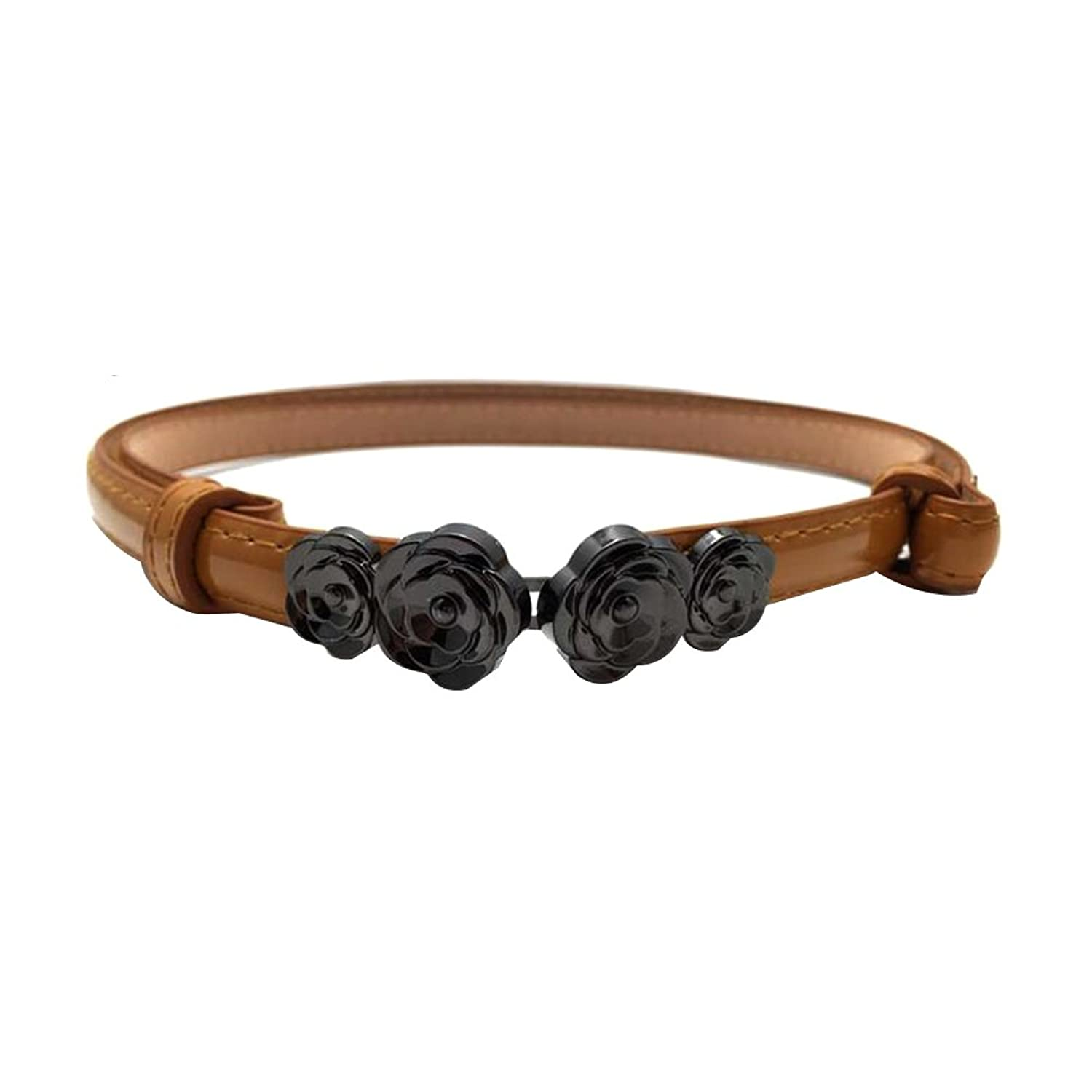 Sitong women's fashion flower buckle decorated leather belt(4 colors)