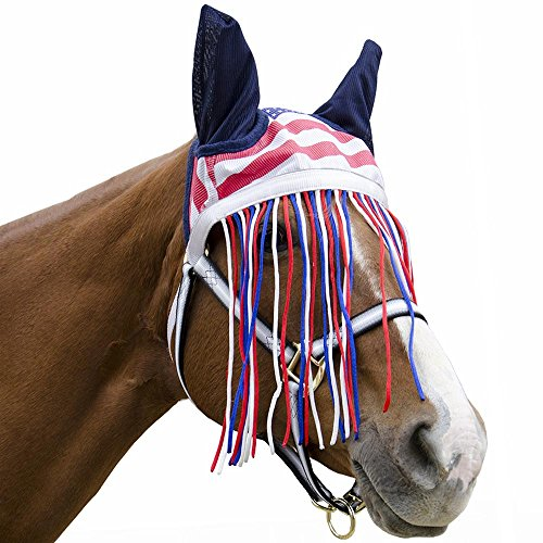 Derby Soft Nylon Mesh Fly Bonnet Veil for Horses with Ears, Fringes, and Reflective Trim - Multiple Colors -All (Reflective Horse Tack)