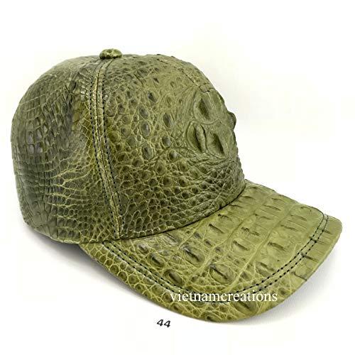 le_vietnam Genuine Crocodile Alligator Skin Unique Baseball Adjustable hat Cap Yellow ## MU14 (Green)