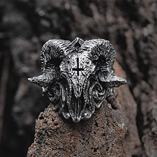 Ring Men Handmade 316L Stainless Steel - Ring Gothic Satanic Demon Devil Sorath Skull Biker Punk Bank Halloween - Unique Special Jewelry Gift For Men]()