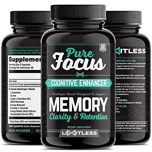 Brain Supplement – Pure Focus Nootropics, Memory, Clarity, and Retention Booster Pills, Max Strength Formula with Ginkgo Biloba and Bacopa by Limitless For Sale