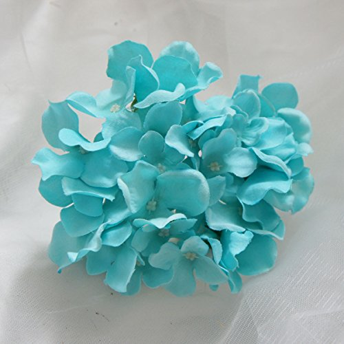 Lily Garden Silk Hydrangea Heads Artificial Flowers (12, Turquoise)