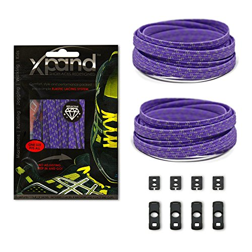 Xpand No Tie Shoelaces System with Reflective Elastic Laces - Purple - One Size Fits All Adult and Kids Shoes