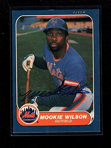 - 1986 Fleer #97 Mookie Wilson Authentic Card Autograph Signature Ax6189 - Baseball Slabbed Autographed Cards