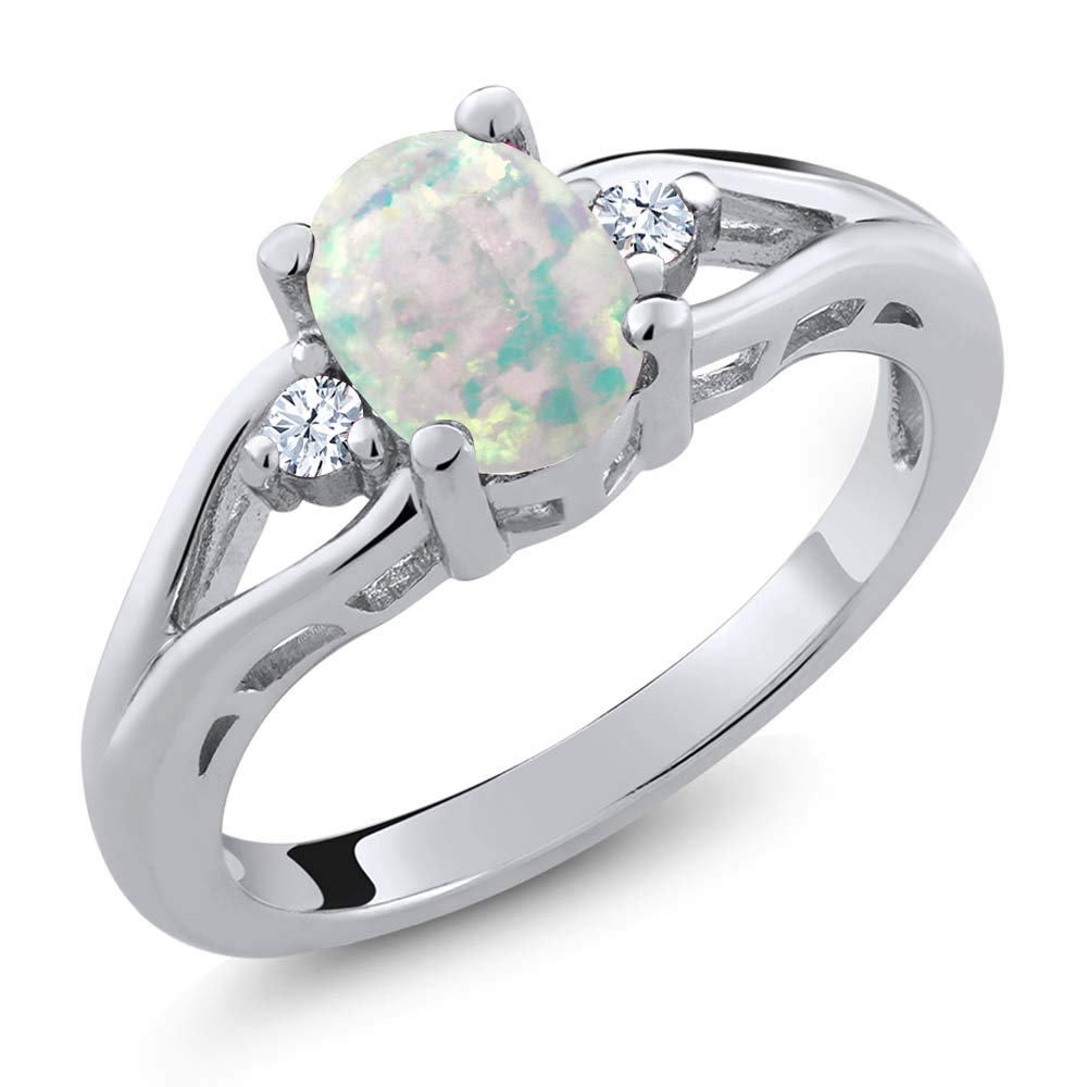 Gem Stone King 1.13 Ct White Simulated Opal White Created Sapphire 925 Sterling Silver 3 Stone Ring (Size 7) by Gem Stone King