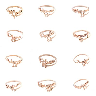 DBMOOD Women's Rose Gold Plated Horoscope Constellation Zodiac Sign  Adjustable Tail Rings Scorpio