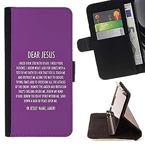 BullDog Case - FOR/HTC One M7 / - / DEAR JESUS /- Monedero de cuero de la PU Llevar cubierta de la caja con el ID Credit Card Slots Flip funda de cuer