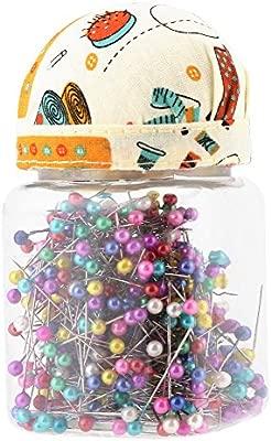 Botella multicolor pernos rectos perlas agujas pernos acolchados tela cubierta Pin cojín botella de costura Craft 500 unids